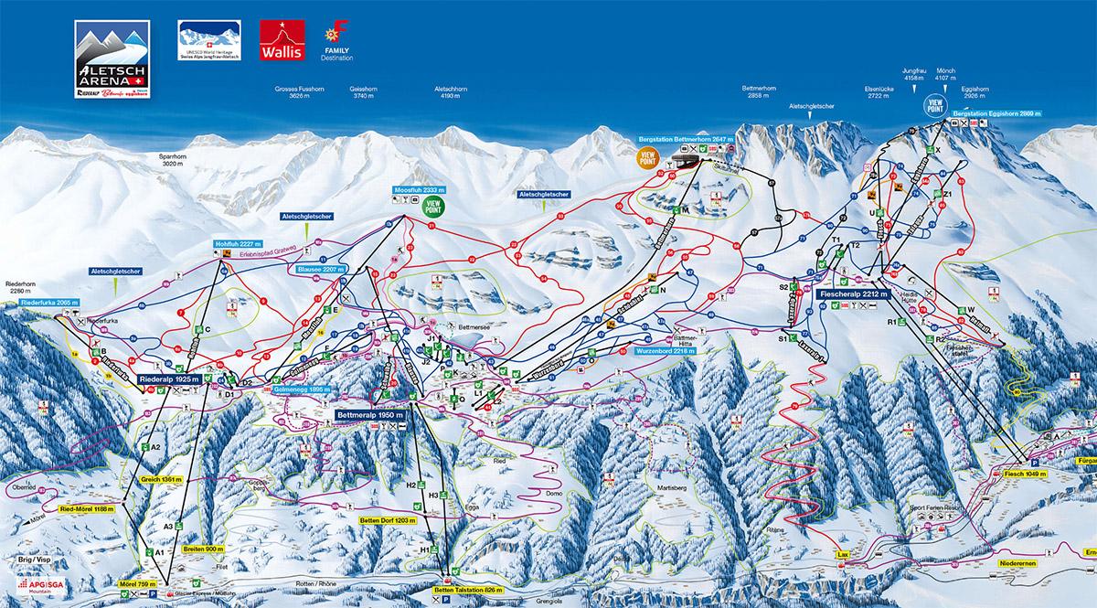 mapa pistes Aletsch Arena
